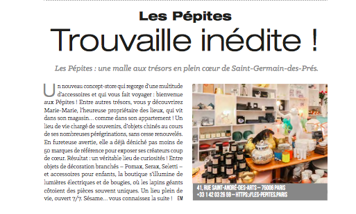 Parution presse dans le magazine Cerise Paris City Magazine